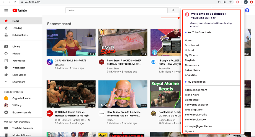 SocialBook Youtube Builder